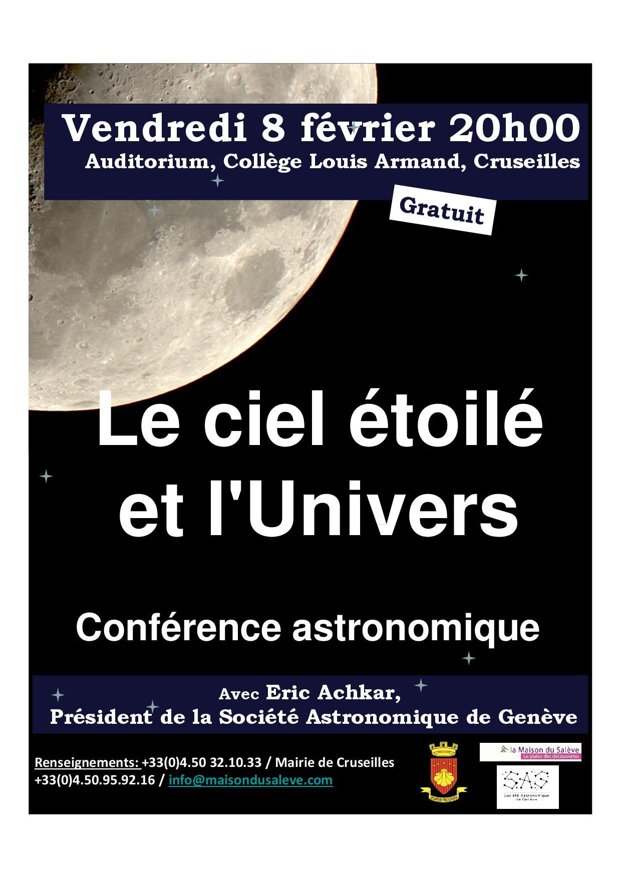 Conférence le ciel étoilé et l'univers, 08-02-2019