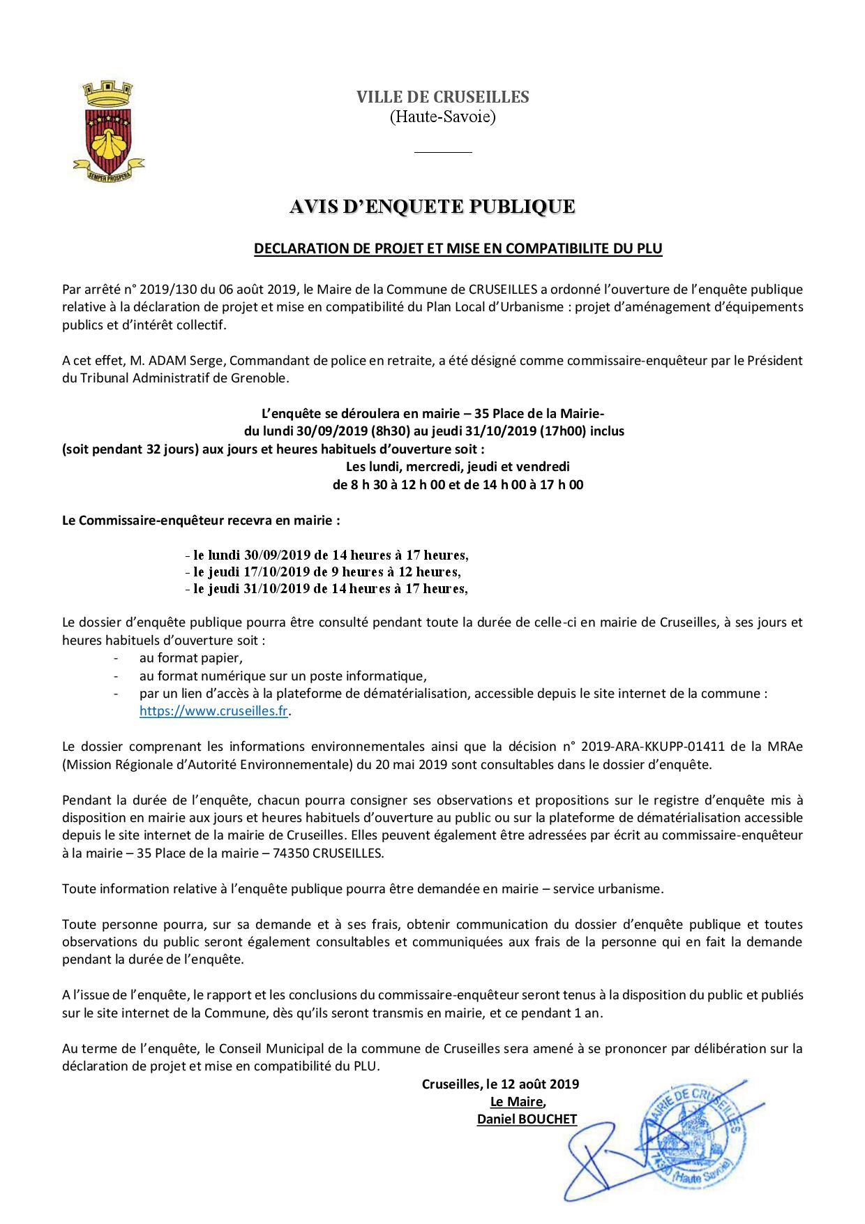 O_Urbanisme_DECLARATION DE PROJET MISE EN COMPATIBILITE PLU_Enquete Publique_Avis d'enquête sur un A4 pour imprimeur